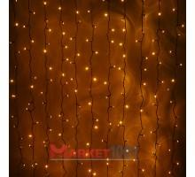 Гирлянда световой светодиодный занавес (дождь) 2x1.5 м с эффектом мерцания FLASH желтый. Черный ПВХ кабель