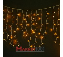 Световая (светодиодная) бахрома 3,5x0,6 м. Желтая. Прозрачный ПВХ кабель