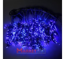 Гирлянда световой светодиодный занавес (дождь) 2x1.5 м с эффектом мерцания FLASH синий. Белый ПВХ кабель