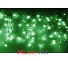 Световая (светодиодная) бахрома 4,8x0,6 м. Зеленая. Белый резиновый кабель