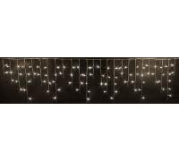 Световая (светодиодная) бахрома 3x0,5 м. Белая теплая. Прозрачный ПВХ кабель.
