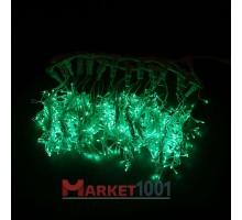 Световой светодиодный занавес (дождь) 2x3 м. с контроллером зеленый. Черный ПВХ кабель