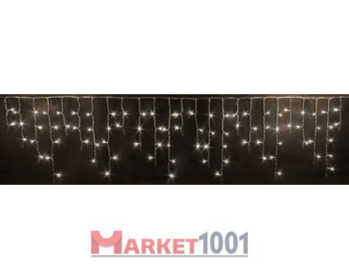 Гирлянда бахрома светодиодная 3x0,5 м. Белая теплая. мерцающая (FLASH) Прозрачный ПВХ кабель.
