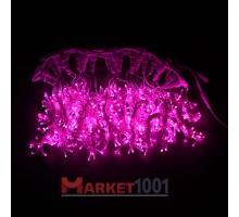 Световой светодиодный занавес (дождь) 2x3 м. с контроллером розовый. Белый ПВХ кабель