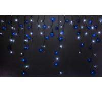 Световая (светодиодная) бахрома 3x0,5 м. Синий+Белый. Прозрачный ПВХ кабель.