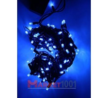 Гирлянда светодиодная Твинкл лайт 10 метров без контроллера синяя (резиновый кабель)