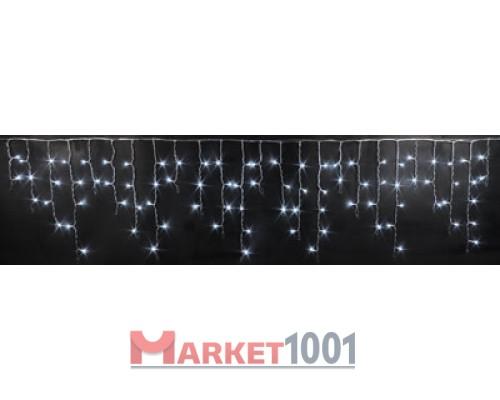 Световая (светодиодная) бахрома 3x0,5 м. Белая. Черный ПВХ кабель.