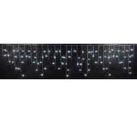 Световая (светодиодная) бахрома 3x0,5 м. Белая. Белый резиновый кабель.