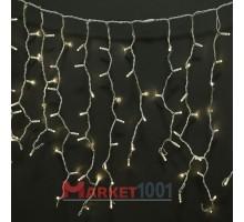 Световая (светодиодная) бахрома 3,5x0,6 м. Теплый белый. Белый силиконовый кабель