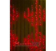 Гирлянда световой светодиодный занавес «Водопад» 2x3 м. С 3-х канальным контроллером красный. (Плей лайт)