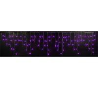 Световая (светодиодная) бахрома 3x0,5 м. Фиолетовая. Прозрачный ПВХ кабель.