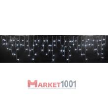Световая (светодиодная) бахрома 3x0,5 м. Белая. Прозрачный ПВХ кабель.