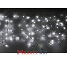 Световая (светодиодная) бахрома 3,5x0,6 м. Белая. Белый резиновый кабель
