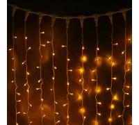 Гирлянда световой светодиодный занавес (дождь) 2x1.5 м с эффектом мерцания FLASH желтый. Белый ПВХ кабель