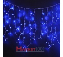 Светодиодная (световая) бахрома 3,5x0,6 м. Синяя. Белый резиновый кабель
