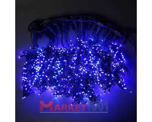 Гирлянда световой светодиодный занавес (дождь) 2x1.5 м с эффектом мерцания FLASH синий. Черный ПВХ кабель