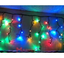 Светодиодная (световая) бахрома 4,8x0,6 м. Мульти. Белый резиновый кабель