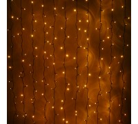 Световой светодиодный занавес (дождь) 2x1.5 м без контроллера желтый. Черный резиновый кабель