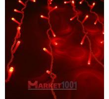 Световой светодиодный занавес (дождь) 2x3 м. с контроллером красный. Черный ПВХ кабель