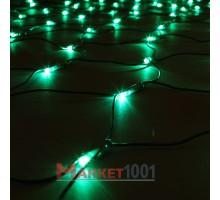 Световая (светодиодная) сеть 2x1 м без контроллера зеленый. Силиконовый кабель